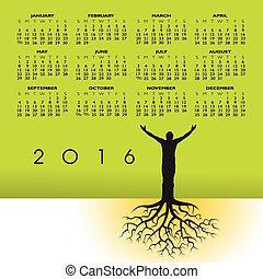 kalender, 2016, wortels, man