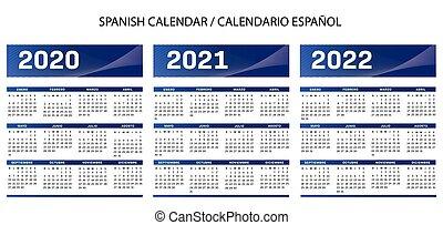 kalender, blauwe , spaanse , 2020-2021-2022, vector