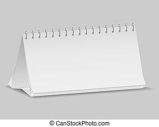 kalender, leeg, bureau