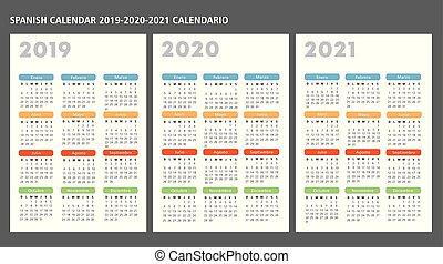 kalender, vector, 2019-2020-2021, mal, spaanse