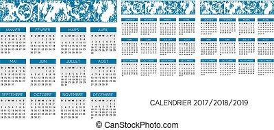 kalender, vector, franse
