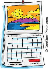 kalender, zonnig