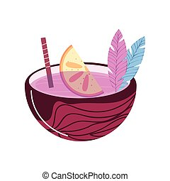 kalk, cocosnoot, cocktail
