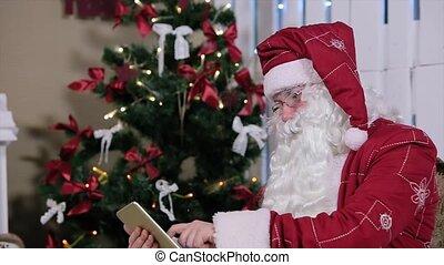 kamer, &, claus, boompje, kerstman, openhaard, kerstmis