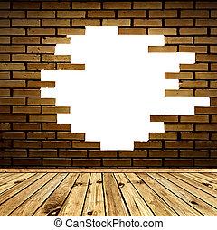 kamer, muur, baksteen, kapot