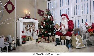 kamer, tablet, draaien, boompje, pagina, kerstman, gifts., openhaard, kerstmis