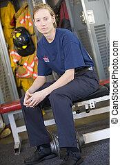 kamer, vuur, brandweerman, kluis, station, verticaal