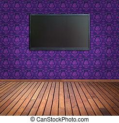kamer, wijde scherm, paarse , behang, televisie