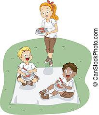 kamp, picknick