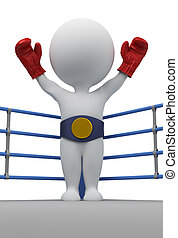 kampioen, mensen, -, bokser, kleine, 3d