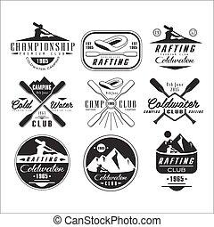 kano, kayak, communie, ontwerp, emblems, kentekens
