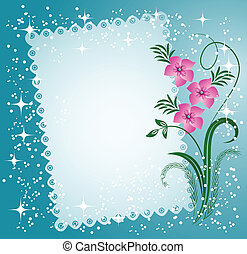 kantachtig, bloemen, randen, servet