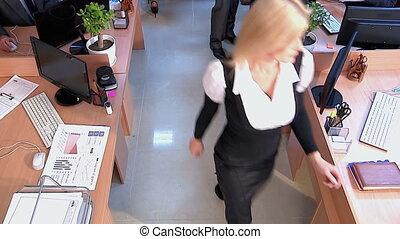 kantoor., mensen, overzicht., groep, zakelijk, bovenzijde