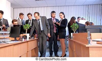 kantoor., mensen, werkende , groep, zakelijk
