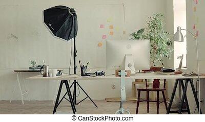 kantoor, moderne, interieur, of, lege, studio.