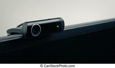 kantoor, of, slaapkamer, webcam, scherm