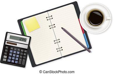 kantoor, rekenmachine, aantekenboekje, sup
