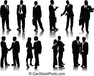 kantoor, silhouettes, mensen