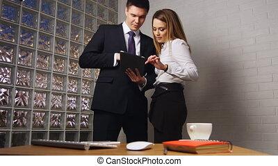 kantoor, tablet, mensen zaak, pc, vergadering
