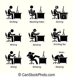 kantoor, werkende , uitvoerend, workplace., computer, voorkant