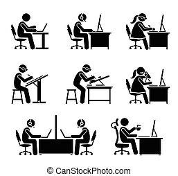 kantoor., werknemer, computer, draagbare computer, werkende