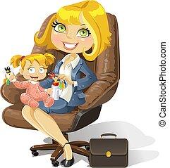 kantoor, zakelijk, mamma, baby meisje, stoel