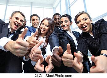 kantoor, zakelijk, op, multi-etnisch, duimen, team, vrolijke