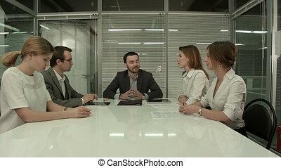 kantoor, zakenlui, moderne, plank vergadering, hebben