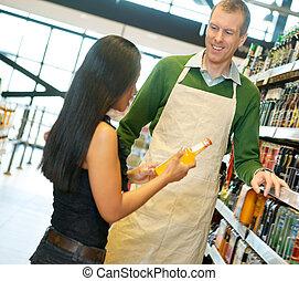 kantoorbediende, grocery slaan op, behulpzaam