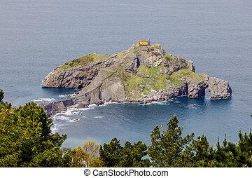 kapel, rotsachtig, juan, de, land, schiereiland, opgespoorde, baskisch, spain., gazteluatxe, san