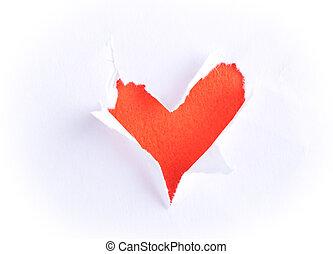 kapot, vorm, document hart