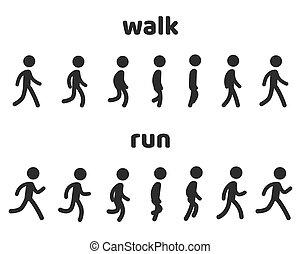 karakter, animatie, uitvoeren, cyclus, wandeling