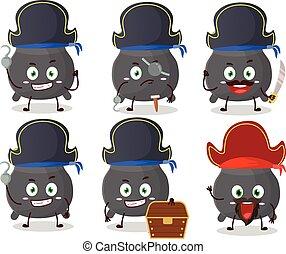 karakter, gevarieerd, ketel, spotprent, piraten, emoticons