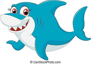 karakter, haai, komisch