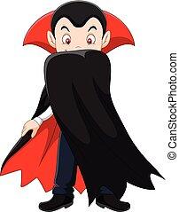 karakter, spotprent, vampier