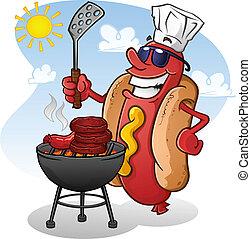 karakter, warme, grilling, dog, spotprent