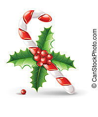 karamel, stok, zoet, bladeren, vrijstaand, illustratie, vector, groene achtergrond, hulst, witte , besjes, kerstmis