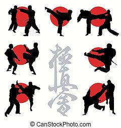 karate, kyokushin, set, silhouettes