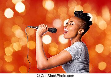 kareoke, microfoon, vrouw, het zingen