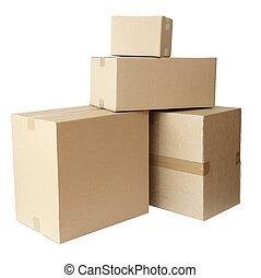 karton bokst, verpakken, stapel