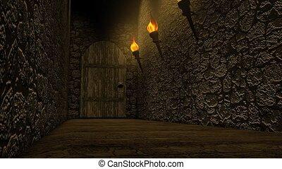 kasteel, oud, passageway