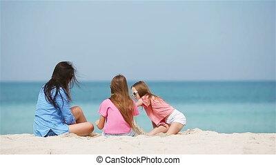 kasteel, weinig moeder, strand, vervaardiging, dochter, zand, tropische