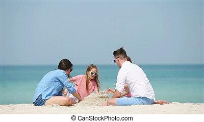 kasteel, witte familie, zand, vervaardiging, tropisch strand, vier