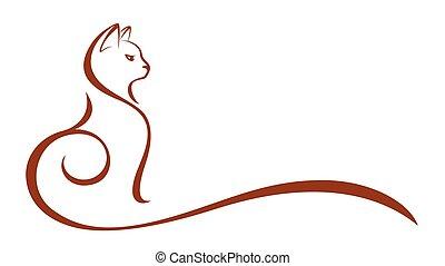 kat, symbool., stylized