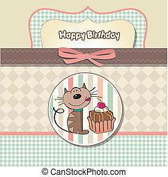 kat, verjaardag kaart, groet