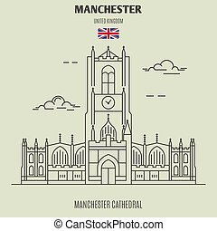 kathedraal, uk., oriëntatiepunt, manchester, manchester, pictogram