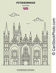 kathedraal, uk., peterborough, oriëntatiepunt, peterborough, pictogram