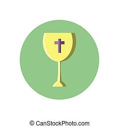 katholiek, wijn glas, blok, stijl, pictogram