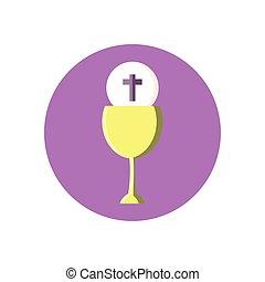 katholiek, wijn glas, ontwerp, blok, stijl, communie
