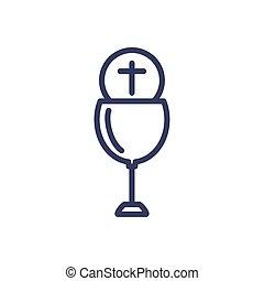 katholiek, wijn glas, ontwerp, stijl, communie, lijn